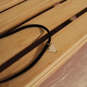 Marble Triangle Pendant Black Velvet Choker
